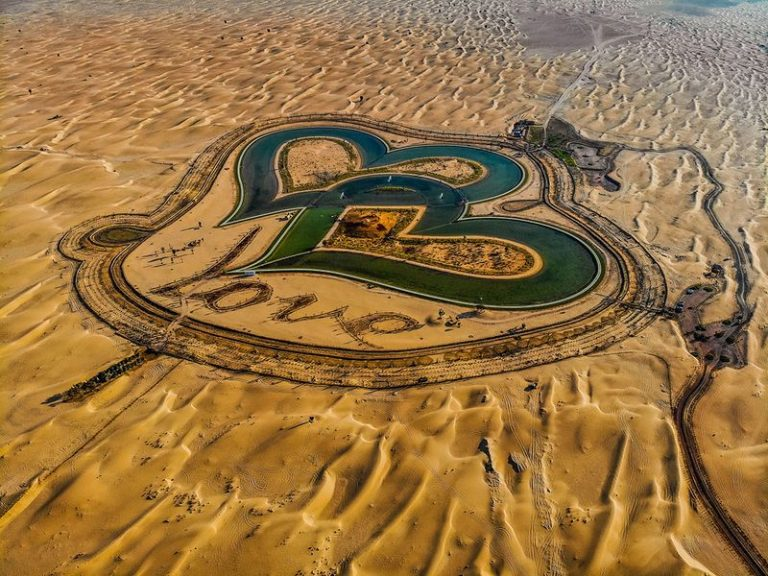 Dubai's Love Lake: Two Hearts in the Middle of the Desert